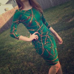 Lauren Ralph Lauren Green Sheath Midi Chain Dress